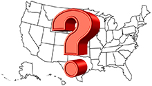 US Map with Question Mark