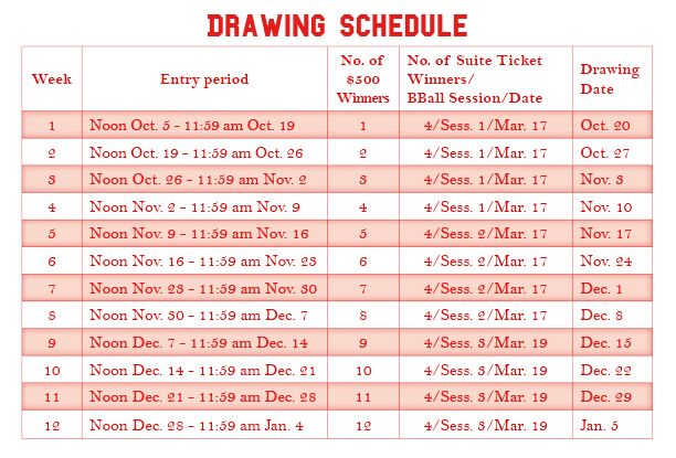 Holiday Hoopla_Drawing Schedule