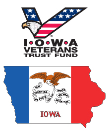 IVTF Logo and State Flag in Iowa Map