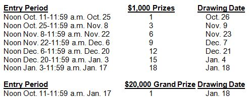 Jingle Bills Draw Schedule